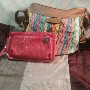Pastel knit and man-made leather bag by Rossetti